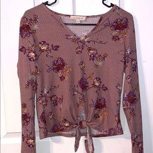 Mauve floral knit long sleeve sweater/shirt!